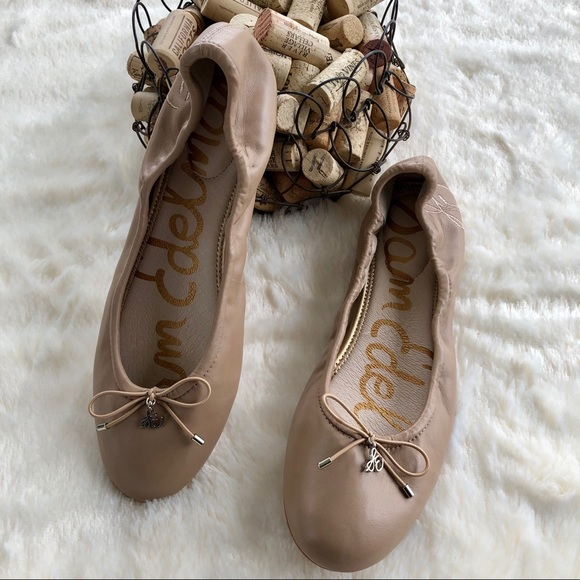 d2f39b4a25fba Sam Edelman Shoes - Sam Edelman Felicia nude leather ballet flats 9.5